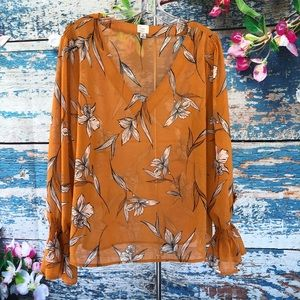 A New Day Sheer Mustard Floral Lilies Blouse XL